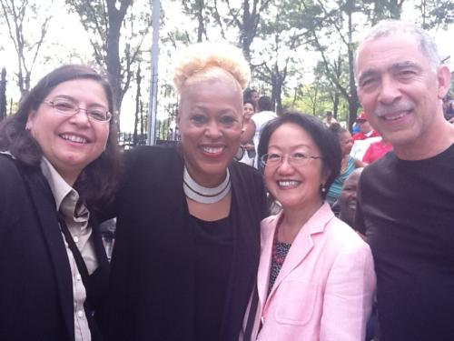 Sheila, Council Members Chin and Mendez, Pstr Mark LES Bands 2013